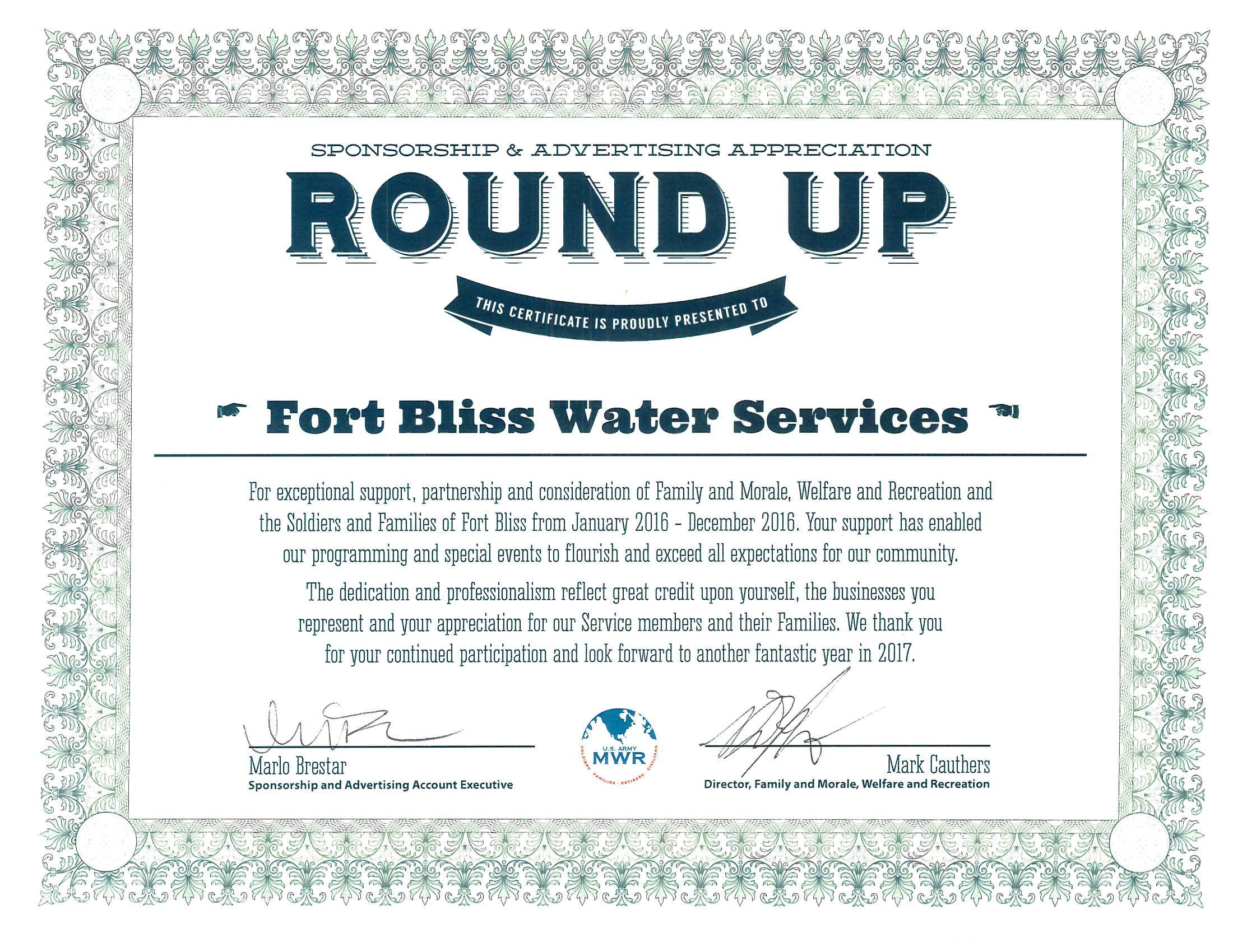 Fort Bliss Water Services Company honored by local MWR